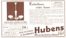 """PUB  LUMINAIRES LUSTRES  """"ART DECO """" """" HUBENS """"   1934 ( 16 ) - Luminaires"""