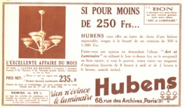 """PUB  LUMINAIRES LUSTRES  """"ART DECO """" """" HUBENS """"   1934 ( 17 ) - Luminaires"""