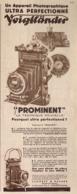 """PUB  APPAREIL PHOTOGRAPHIQUE  ( PROMINENT ) """" VOIGTLANDER """"   1934 - Appareils Photo"""