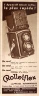 """PUB  APPAREIL PHOTOGRAPHIQUE """" ROLLEIFLEX """"   1934 ( 1 ) - Cameras"""