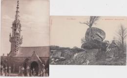 Bs - Lot De 2 Cpa MONTHAULT (Ille Et Vilaine) - Roche Qui Branle + Clocher De L'église - Other Municipalities