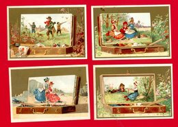 Série De 4 Jolies Chromos Dorées, Personnages, Enfants, Chasseurs, Boîtes De Peinture, Très Beau Graphisme - Other