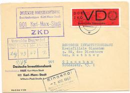 DDR ZKD Brief M. VD Mi.3 ,1967, Deutsche Investorenbank Karl Marx Stadt - DDR