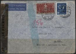 C3437-Switzerland-Double Censored Airmail Cover From Geneva To La Paz, Bolivia-1943 - Switzerland