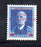 567E/1500 - ALBANIA 1944 , Soprastampato Yvert N. 307  ***  MNH - Albania