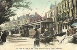 China, SHANGHAI, French And English Town, Tram Street Car (1899) Postcard - China
