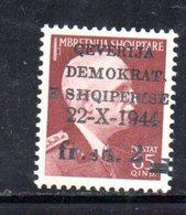 567G/1500 - ALBANIA 1944 , Soprastampato Yvert N. 309  ***  MNH - Albania