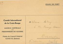 Formule 232a ACCUSE DE RECEPTION CROIX-ROUGE DE GENEVE SUISSE - Agence Des Prisonniers De Guerre - Croix-Rouge