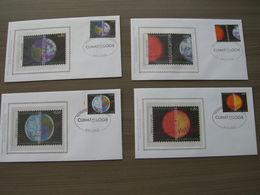 """BELG.2004 3271 3278 3279 3280 & 3281 FDC Silk-soie-zijde  """"Klimatologie """"   (album 111) - 2001-10"""