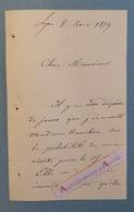 L.A.S Ch. COURBON (ou CAMBON ?) - Lyon 1879 - Lettre Autographe LAS - Autographes