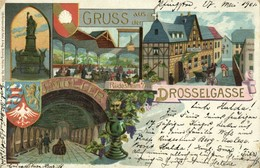 RÜDESHEIM Am Rhein, Drosselgasse, J. Müller (1901) Litho AK - Ruedesheim A. Rh.