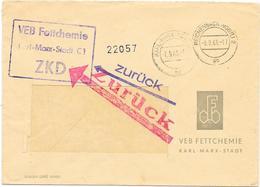 DDR ZKD 2x MdI Kontrolle 1963, VEB Fettchemie Zurück An Absender Empfäner Ist Kein Teilnehmer Am ZKD - DDR
