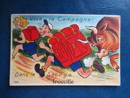 CPA 14 FANTAISIE A SYSTEME TROUVILLE TAUREAU - Trouville