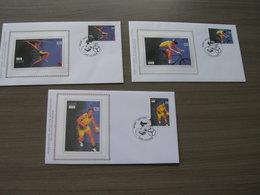 """BELG.2004 3303 3304 & 3305 FDC Silk-soie-zijde  """" Olympische Spelen Athene 2004 """"   (album 111) - 2001-10"""