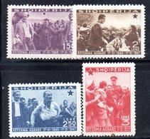 575/1500 - ALBANIA 1947 , Serie Yvert N. 377/380  *  Linguellato. Riforma Agraria - Albania