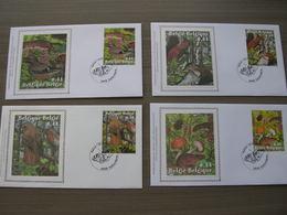 """BELG.2004 3312 3313 3314 & 3315 FDC Silk-soie-zijde  """" Natuur - Week Van Het Bos """"   (album 111) - 2001-10"""