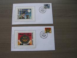 """BELG.2004 3324 & 3325 FDC Silk-soie-zijde  """"  Halloween """"   (album 111) - 2001-10"""