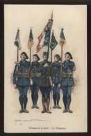UNIFORMES - ILLUSTRATEUR EDMOND LAJOUX  - CHASSEURS A PIED - DRAPEAUX - 6 IMAGES - Uniforms