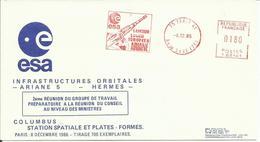 ESPACE - INFRASTRUCTURES ORBITALES ARIANE 5 / HERMES / COLOMBUS - 2ème Réunion De Travail - ESA - 08/12/1986 - FDC & Commemoratives