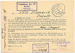 DDR Brief Präsidium Der VP Sekretariat Berlin 1962 + MdI Kontrolle - DDR