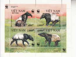 1995 Vietnam WWF Tapirs Miniature Sheet Of 4 MNH - Ongebruikt