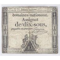ASSIGNAT DE 10 SOUS - SERIE 1057 - 24/10/1792 - DOMAINES NATIONAUX - TB/TTB - - Assignats