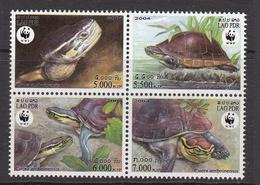 2004 Laos WWF Turtles Block Of 4 MNH - Ongebruikt