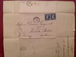 1856 Prosper Romieux La Rochelle Pour Pont De Bordes Belles Marges - Marcophilie (Lettres)