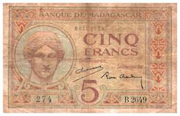 Billets > Madagascar 5  Francs - Madagascar