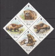 2004 Russia WWF Wolverines Block Of 4 MNH - Ongebruikt