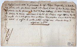 VP13.301 - VARS 1762 - Quittance - Mr Le Fondé De Procuration De Mgr L'Evêque D'ANGOULEME - Droit De Pêche SEGUIN - Manuscripts
