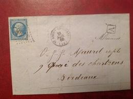 1866 Saint André De Cubzac Pour Bordeaux Boîte Rurale A - Marcophilie (Lettres)