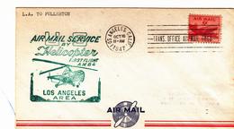 16 Ottobre 1947 Air Mail Service By Helicopter.  Primo Volo Di Elicotteri Nella Zona Di Los Angeles - Elicotteri