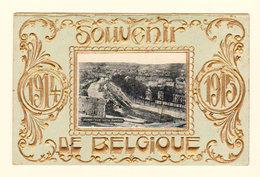 Très Belle Carte : Souvenir De BELGIQUE 1914 1915 Namur : Vue Sur La Sambre - En Relief Doré - Saluti Da.../ Gruss Aus...