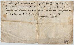 VP13.302 - VARS 1763 - Quittance - Mr Le Fondé De Procuration De Mgr L'Evêque D'ANGOULEME - Droit De Pêche SEGUIN - Manuscripts