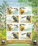 2004 Norfolk Islands WWF Kingfishers Miniature Sheet Of 2 Blocks Of 4 MNH - Ongebruikt