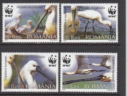 2006 Romania WWF Eurasian Spoonbill Bird Set Of 4 MNH - Ongebruikt