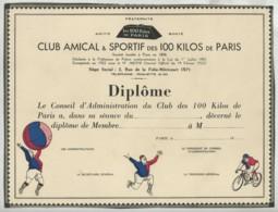 Diplôme Vierge Du Club Amical & Sportif Des 100 Kilos De Paris , 2 Rue De La Folie-Méricourt . - Diploma & School Reports