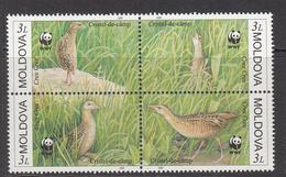 2001 Moldova WWF Corn Crake Bird Block Of 4 MNH - Ongebruikt