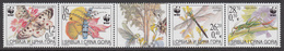 2004 Serbia WWF Insects Strip Of 4 + Label MNH - Ongebruikt