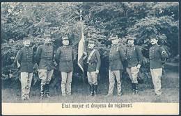 Armée Belge - Etat Major Et Drapeau Du Régiment - Régiments