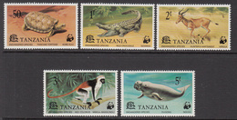 1977 Tanzania WWF Endangered Animals, Tortoise, Crocodile, Hartebeest, Red Colobus, Dugong Set Of 5 MNH - W.W.F.