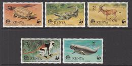 1977 Kenya WWF Endangered Animals, Tortoise, Crocodile, Hartebeest, Red Colobus, Dugong Set Of 5 MNH - Ongebruikt