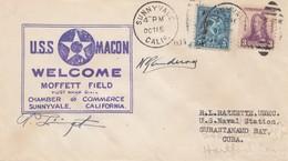USA 1933: Sunnyvale, Calif USS Macon To Gurantanmo Bay, US Naval Station - United States