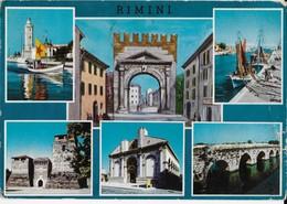1964 Italy To Israel Vintage Postcard Rimini Multiview - Rimini