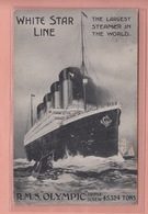 OLD POSTCARD - SHIPPING -    CUNARD WHITE STAR LINE R.M.S. OLYMPIC - Paquebots
