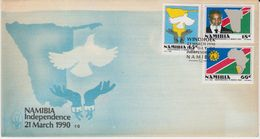 Namibia 1990 Independance 3v FDC (F7589) - Namibië (1990- ...)