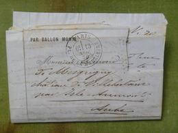 Pli Ballon Monté, Cachet Du 13 Novembre 1870 Pour Villebertain Par Isle-Aumont (Aube), Timbre Découpé - Marcophilie (Lettres)