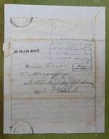 Pli Ballon Monté, Cachet Du 3 Décembre 1870 Pour Villebertain Par Isle-Aumont (Aube), Timbre Découpé - Marcophilie (Lettres)