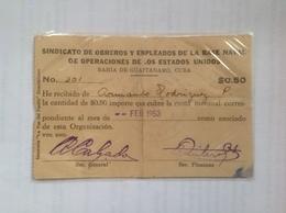 Cuba  Sindicate Receipt - Cuba